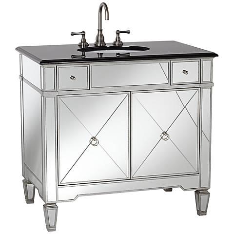 Mirrored And Black Granite 36 Wide Bathroom Sink Vanity