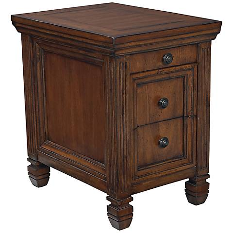 Hammary Hidden Treasures Chairside 2-Drawer Oak Table