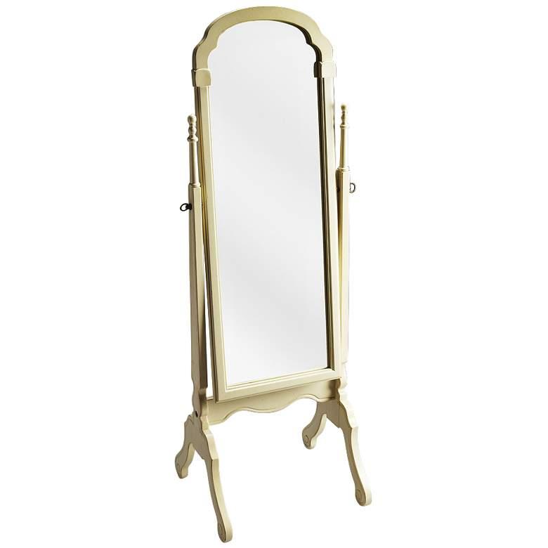 """Antique Brass w/ Cream Tilting Cheval 19"""" x 60"""" Floor Mirror"""