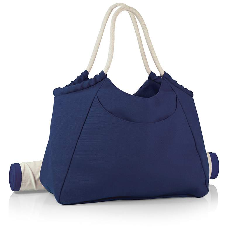 Cabo Navy Beach Tote with Bamboo Mat