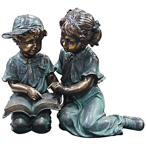 "Boy and Girl Reading 19"" High Outdoor Statue"