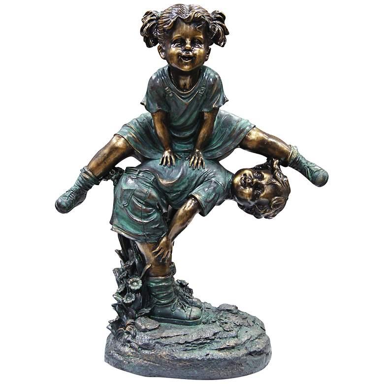 "Girl Jumping Over Boy 26"" High Outdoor Statue"