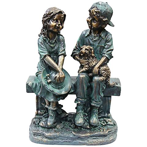 """Girl and Boy on Bench with Puppy 16"""" High Outdoor Statue"""