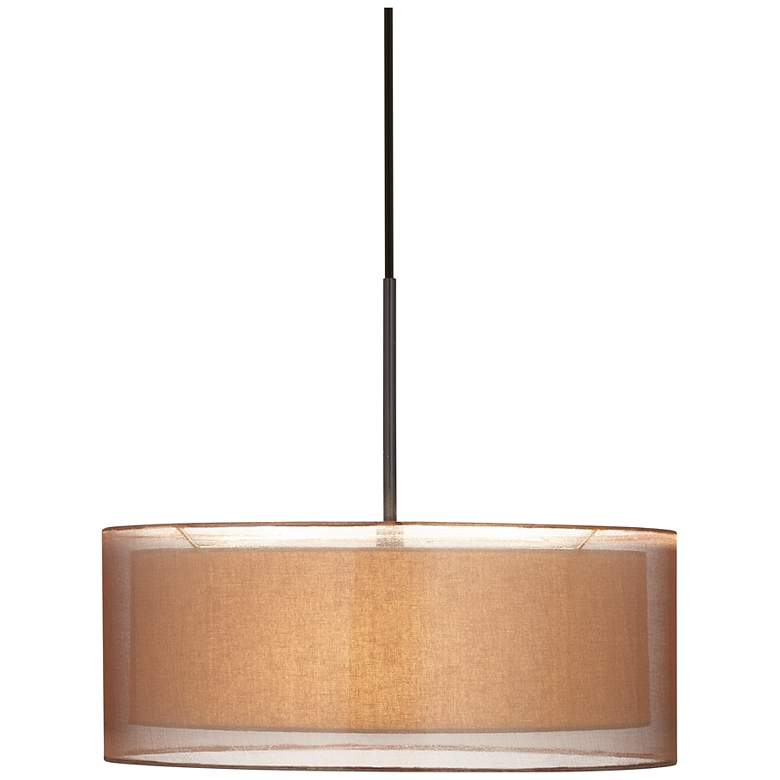 "Possini Euro Double Shade 20"" Wide Bronze Pendant Light"