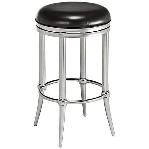 "Cadman 26"" Backless Nickel Black Swivel Counter Stool"