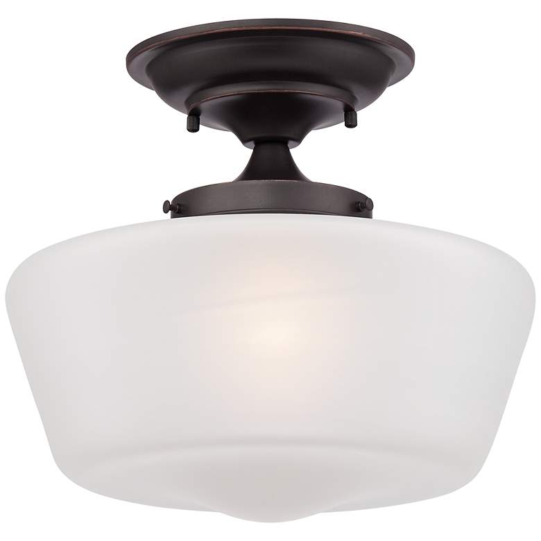 """Schoolhouse Floating 12"""" Wide Bronze Opaque Ceiling Light"""