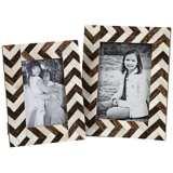 Set of 2 Zig Zag Bone Inlay Photo Frames