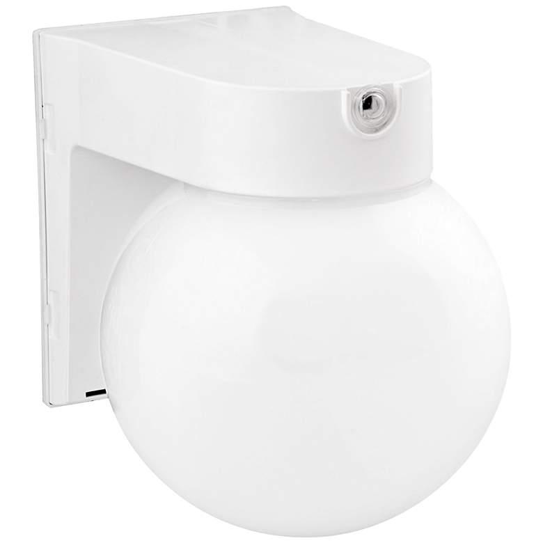 "White Globe 7 1/4"" High LED Outdoor Wall Light"
