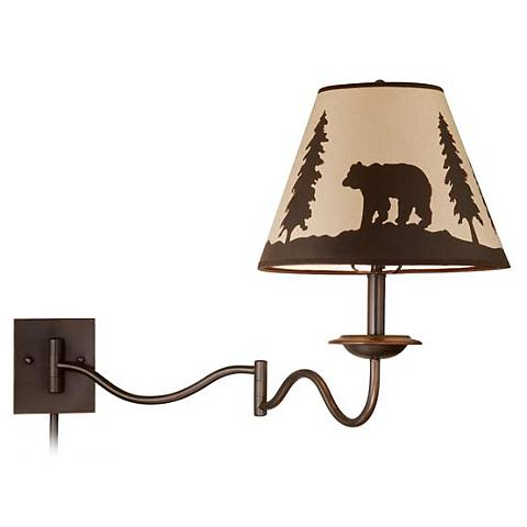 "Bozeman 18"" High Burnished Bronze Swing Arm Wall Lamp"