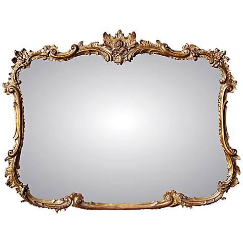 """Buffet 44"""" Wide Antique Gold Rectangular Wall Mirror"""