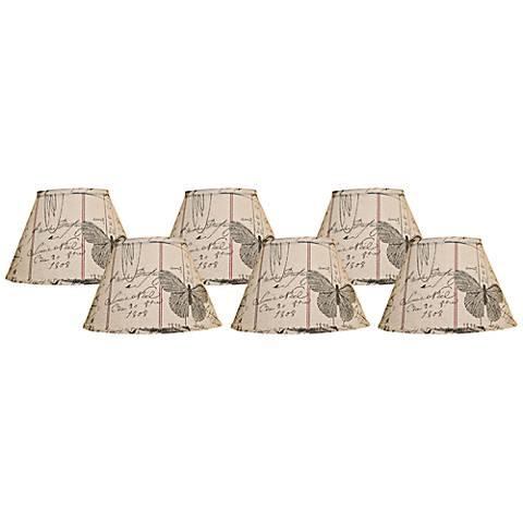 Set of 6 Antique Ledger Lamp Shades 4x6x5.25 (Clip-On)
