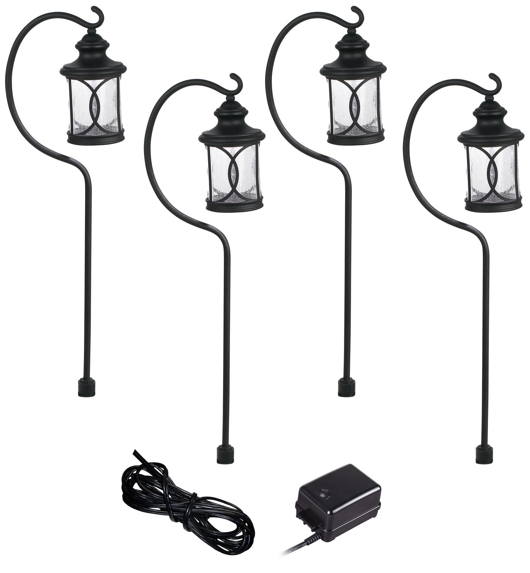 Captivating Capistrano Black 4 Path Light LED Landscape Lighting Kit