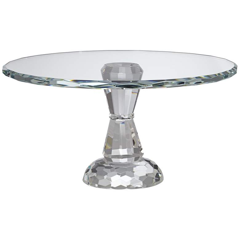 "Elin 9 1/4"" Round Pedestal Crystal Cake Stand"