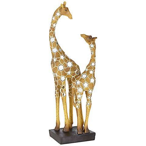 "Giraffe Mother with Baby 18 1/2"" High Sculpture"