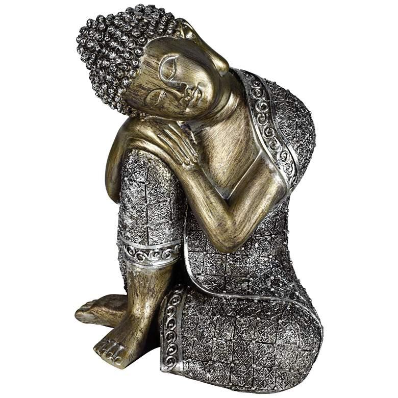 """Sleeping Buddha Silver 9 1/4"""" High Sculpture"""