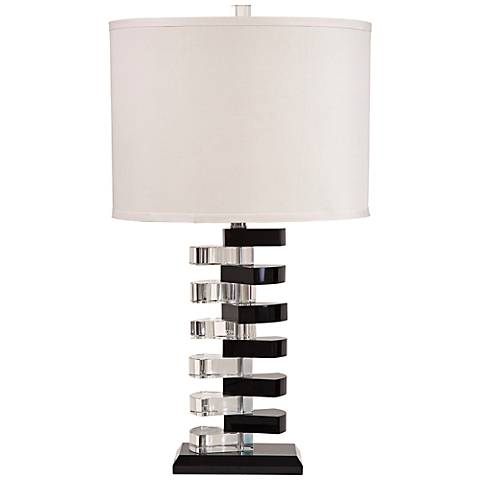 Etagere Black and Clear Crystal Table Lamp