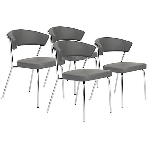 Set of 4 Draco Gray and Chrome Side Chairs