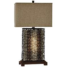 Wood table lamps lamps plus free port rattan wire wood table lamp greentooth Choice Image