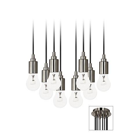 Europa GE Clear Bulb Brushed Nickel Multi Light Pendant