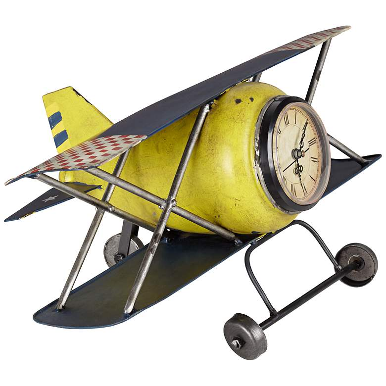 "Wright Classic 15"" Wide Yellow Airplane Clock"