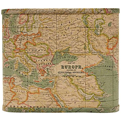 Blue World Map Square Lamp Shade 11x11x9.5 (Spider)