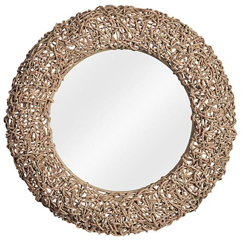 """Kenroy Home Seagrass 33"""" Round Rope Wall Mirror"""