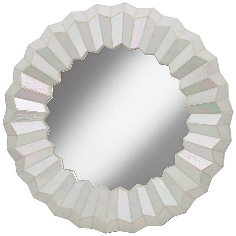 "Arya Iridescent Mosaic Tile 30"" Round Wall Mirror"