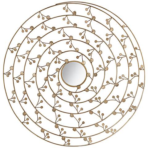"""Gold Metal 32"""" Round Flower Wall Art With Mirror"""