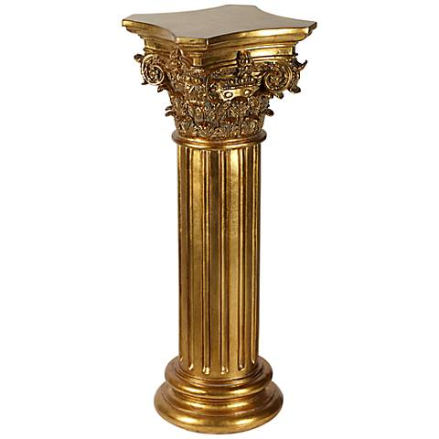 "Corinthian Style 29"" High Antique Copper Floor Column"