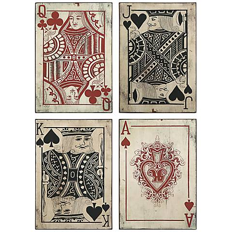Leonato Set of 4 Playing Cards Metal Wall Art