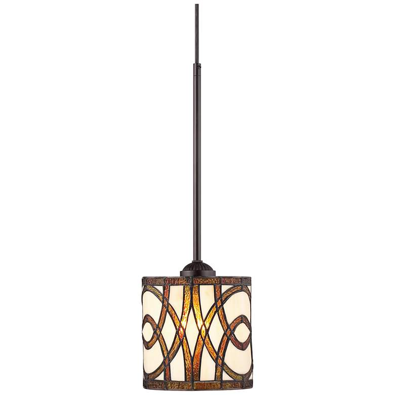 "Circles Tiffany-Style Art Glass 7"" Wide Mini-Pendant Light"