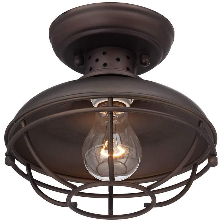 "Franklin Park 8 1/2"" Wide Bronze Caged Outdoor Ceiling Light"