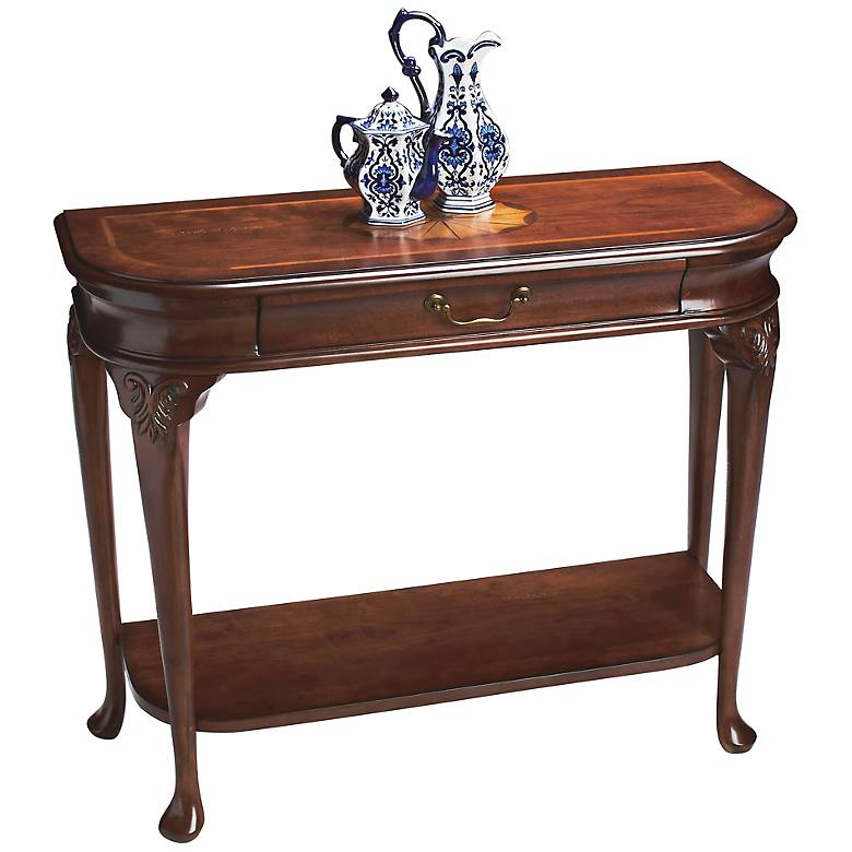 "Plantation 36"" Wide Cherry Finish Traditional Console Table"