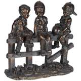 "Kids Sittin' on Fence 10"" Wide Bronze Sculpture"