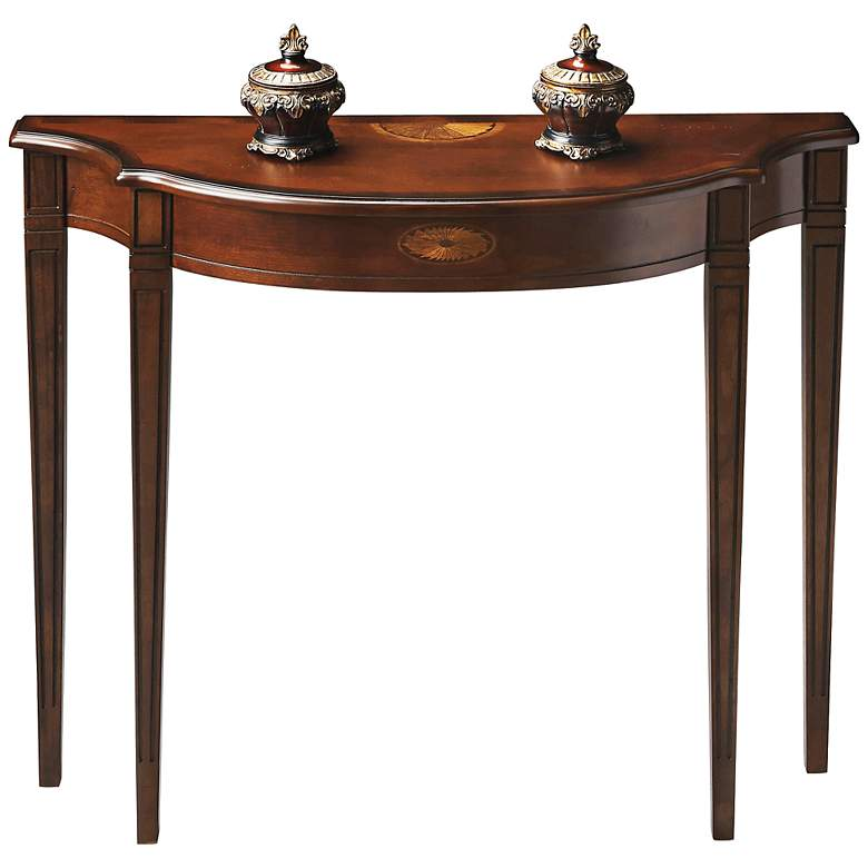 """Plantation 39"""" Wide Cherry Finish Traditional Console Table"""