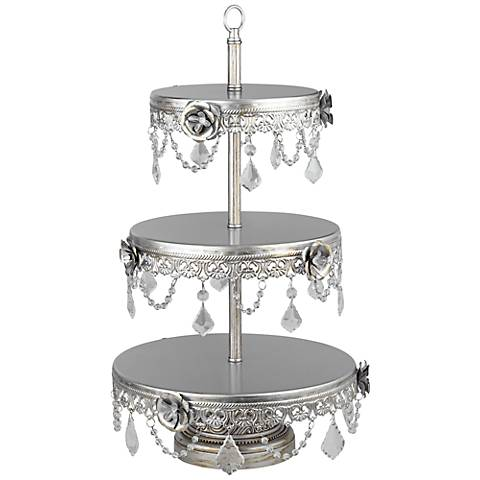 "Geneva Silver Beaded 22"" High 3-Tier Cake Stand"