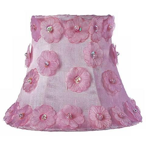 Pink Silk Flower Shade 3x5x4.25 (Clip-On)