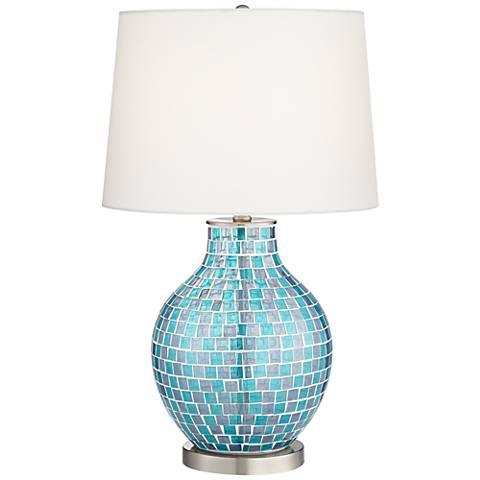 Teal Blue Glass Mosaic Jar Table Lamp