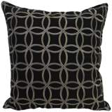 """Embroidered Circles Black 18"""" Square Throw Pillow"""