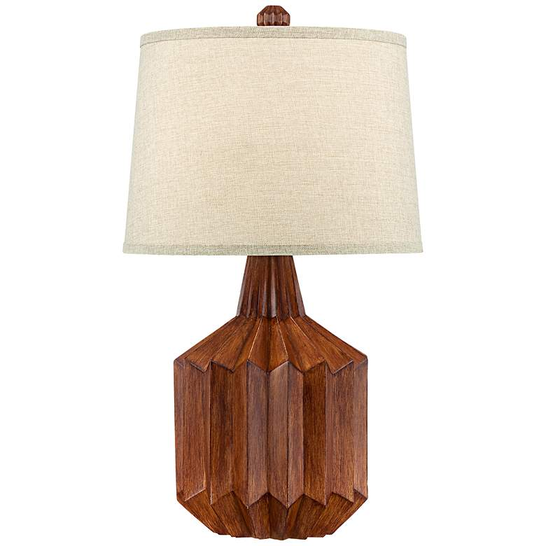 Manitoga Wood Finish Cog Table Lamp