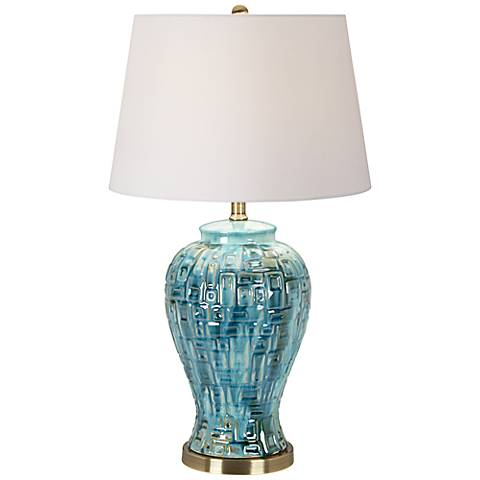 "Teal Temple Jar 27"" High Ceramic Table Lamp with 9W LED Bulb"