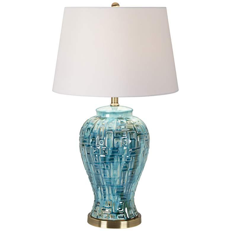 "Teal Temple Jar 27"" High Ceramic Table Lamp"