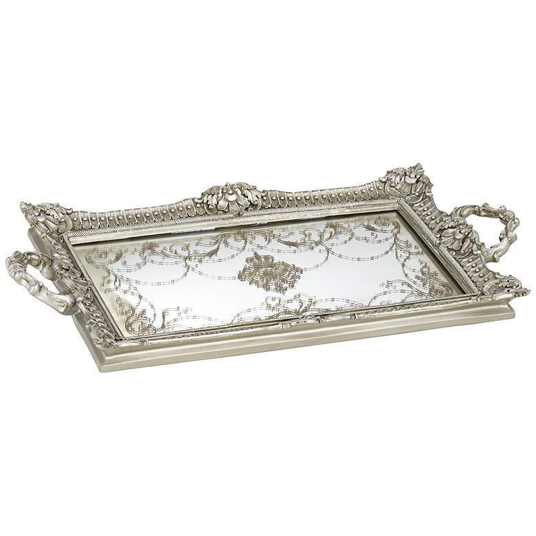 Margeaux Antique Nickel and Mirrored Decorative Tray