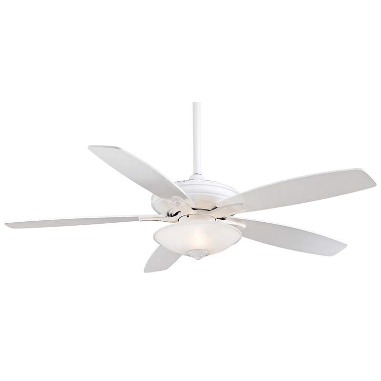"""52"""" Minka Aire Mojo Frosted White Glass - White Ceiling Fan"""