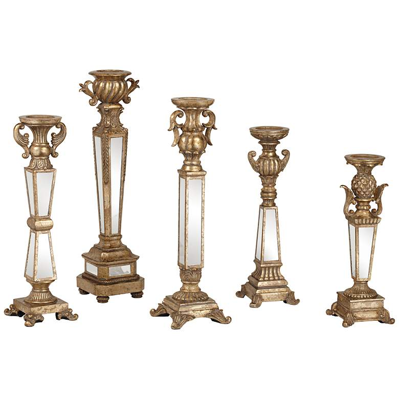 Carley Traditional Mirrored Pillar Candle Holders Set of 5