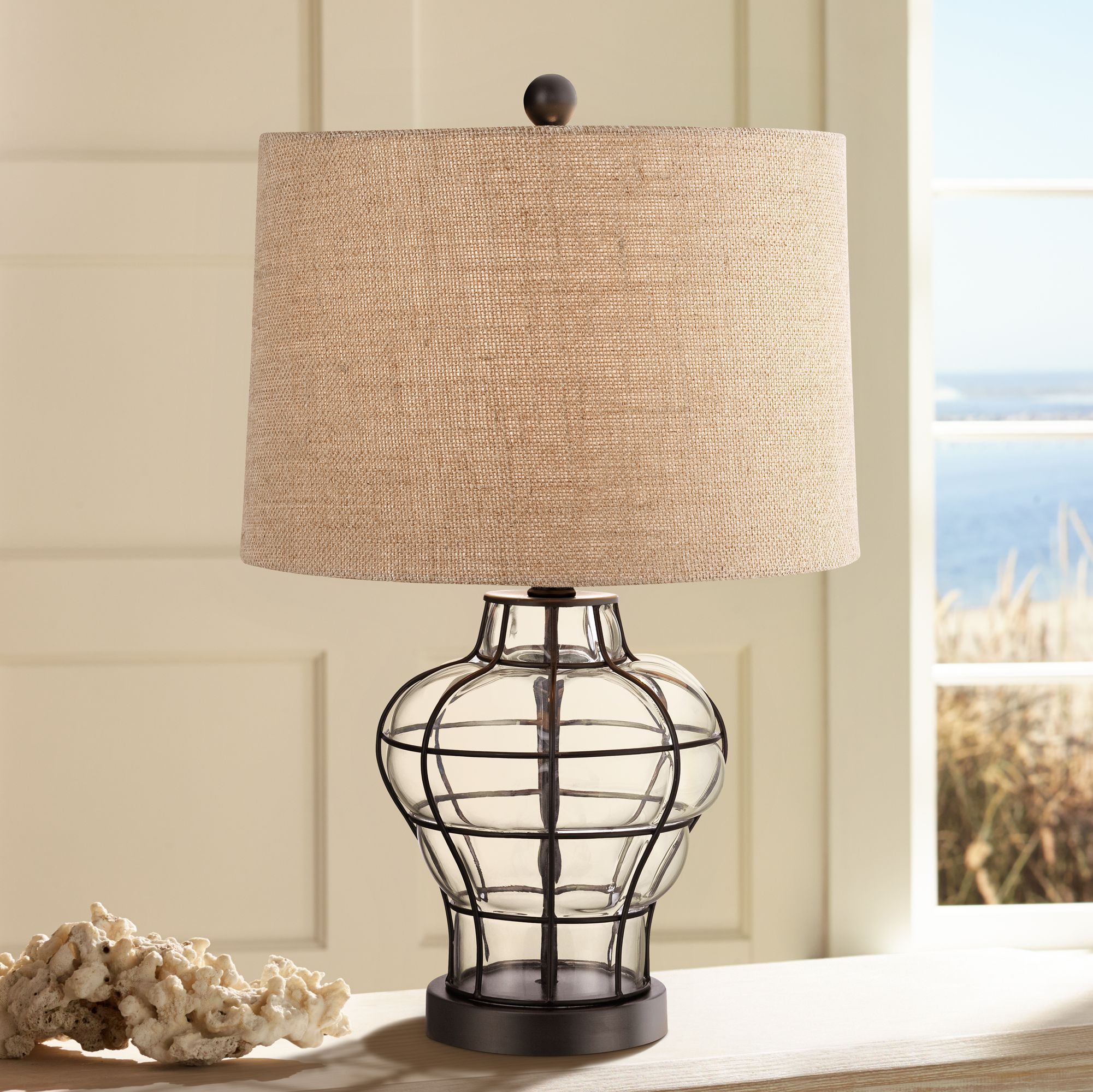 nautical table lamp clear blown glass cage burlap for living room rh ebay com