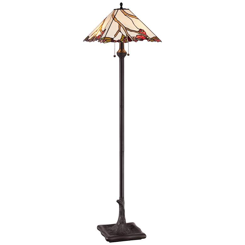 Robert Louis Tiffany Cherry Blossom Art Glass Floor Lamp