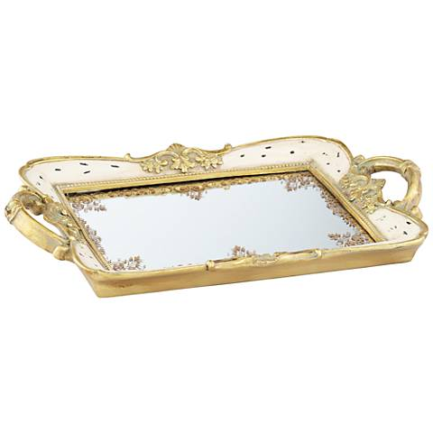 "Gilda Soft Pink and Gold 13"" Wide Mirrored Tray"