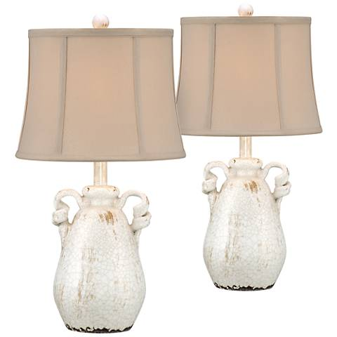 Sofia Ivory Ceramic Accent Table Lamp Set of 2
