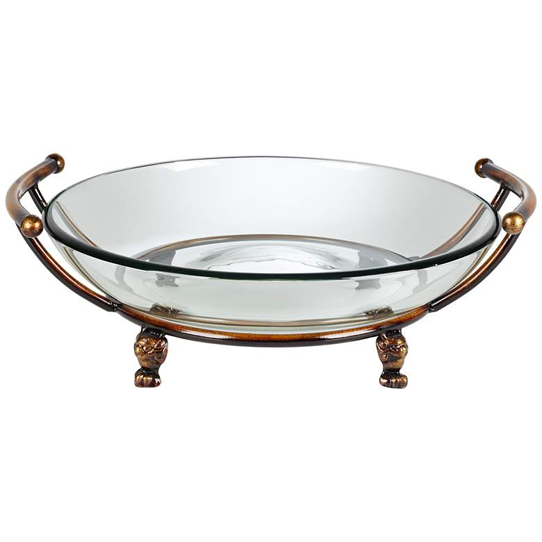 """Blaise 17"""" Wide Bronze Stand with Clear Glass Bowl"""